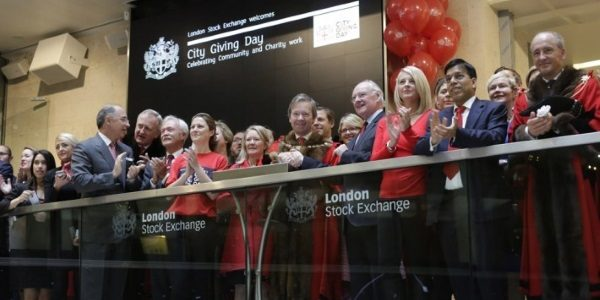 At the opening of the London Stock Exchange of City Giving Day 2016.