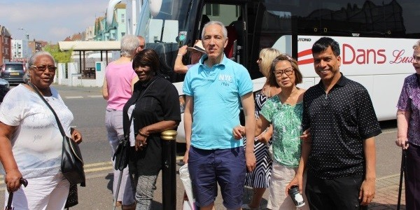 Joining residents on a coach trip to Clacton-on-Sea