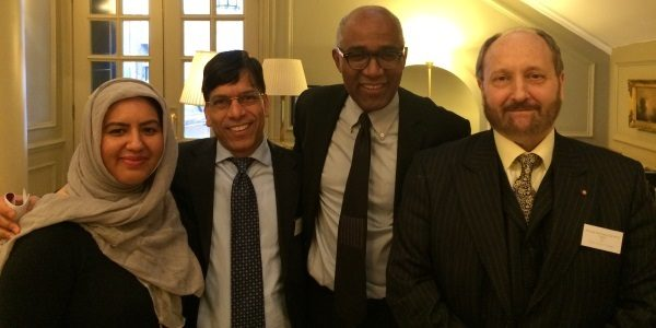 Prem with fellow Three Faiths Foundation (3FF) Champion Trevor Phillips OBE at Ambassadors' Meeting at St. James's Palace