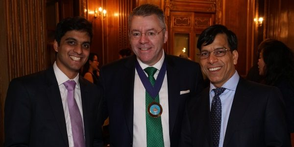 Prem at the Lord Mayor's Big Curry Lunch Cocktails Party in Mayfair with David Stringer-Lamarre, IoD City of London Chiar