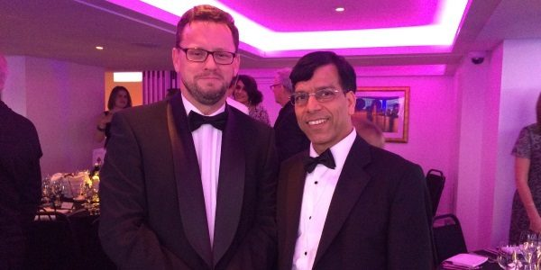 Prem with Minister for Civil Society Rob Wilson at the Charity Awards 2016