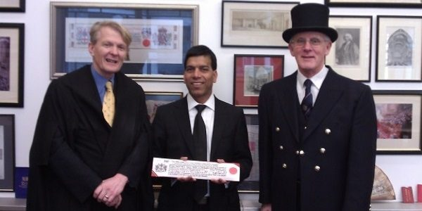 Prem being admitted as a Freeman of the City of London
