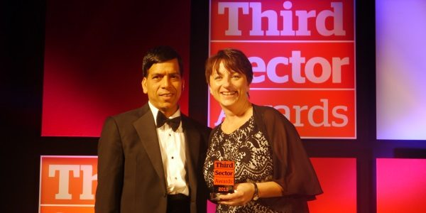 Presenting Royal Trinity Hospice CEO Dallas Pounds with the Rising Chief Executive Award at the Third Sector Awards 2016