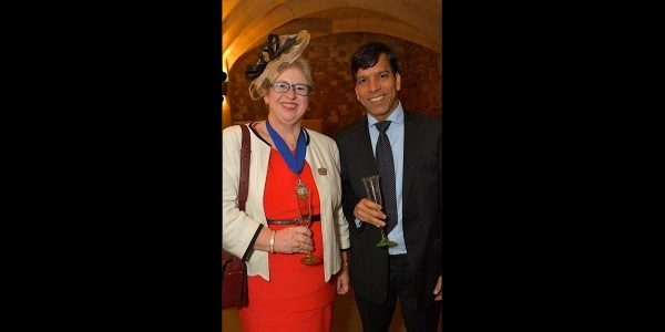 Prem with Corinna Eagle, President of Aldgate Ward Club, at the club's Civic Luncheon at Guildhall