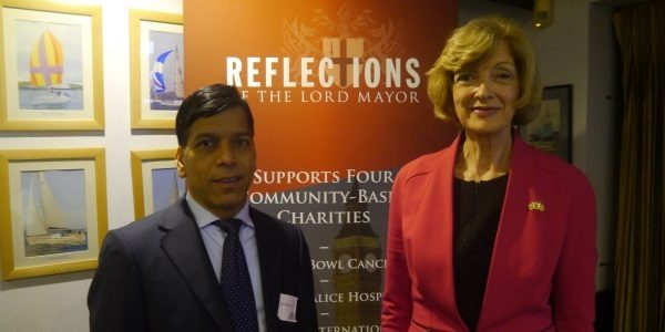 Prem with Former Lord Mayor of London Fiona Woolf at her annual reflections dinner