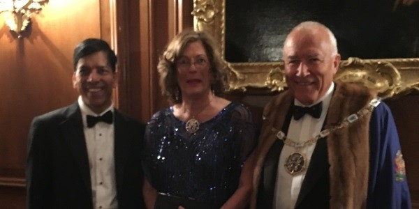 Prem with the newly elected Master of the Worshipful Company of World Traders Robert Browne MBE