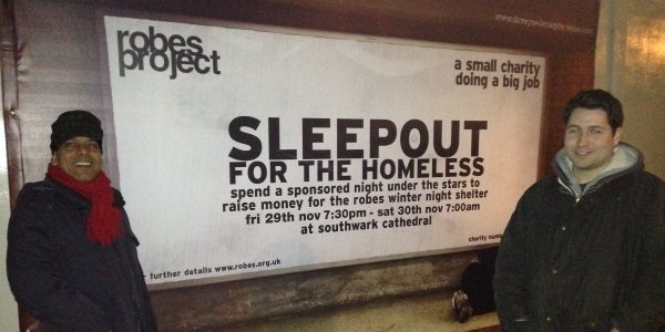 Participating in the Robes Project Sleepout for London's homeless